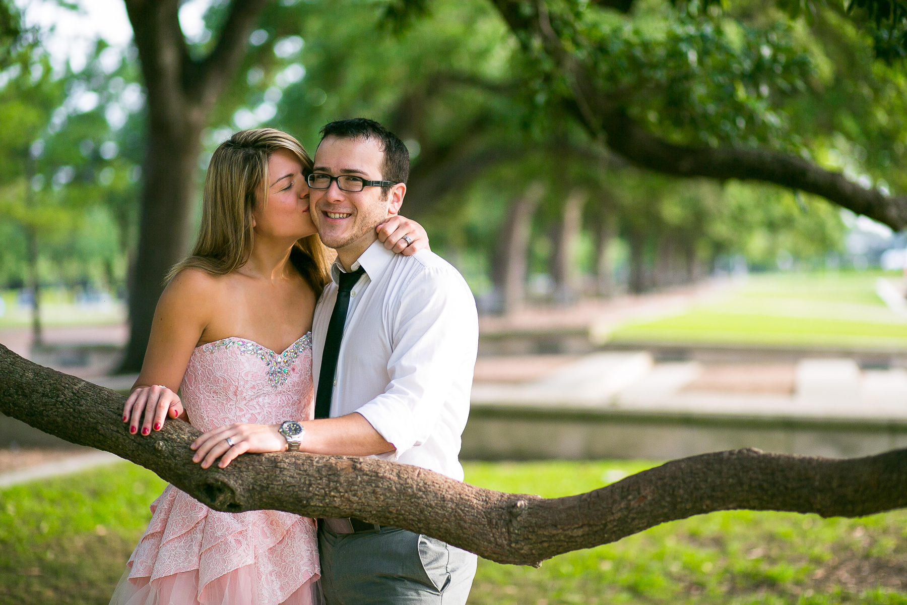 Engagement photo in Hermann Park